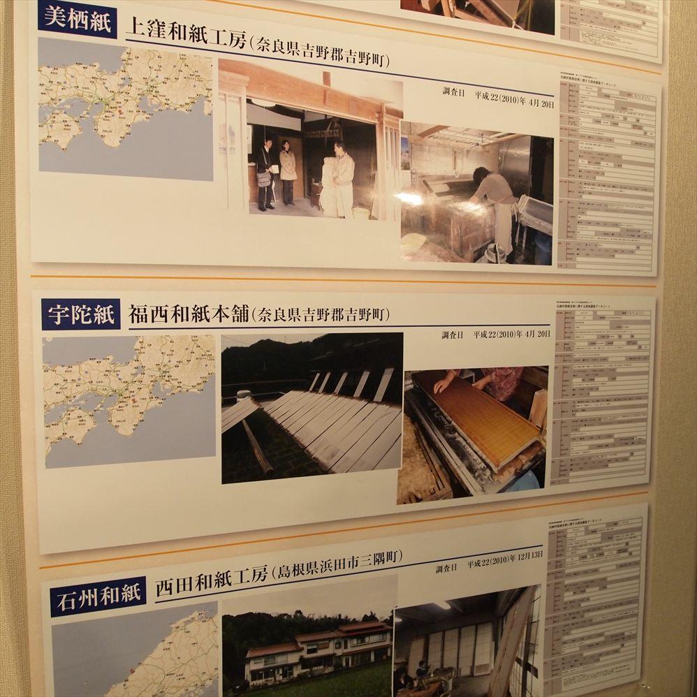 展示パネル「伝統的製紙技術に関する現地調査データシート」